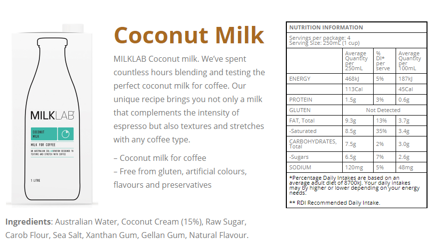 coconut milk info