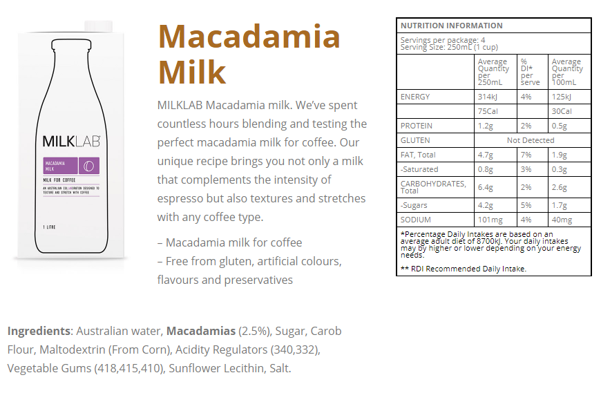 macadamia milk info